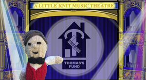 Knitted theatre usher stood in front of a drawn theatre stage with the Thomas's Fund in the spotlight on the curtain.
