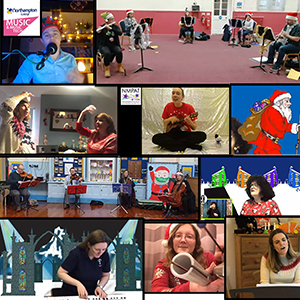 Collage of photos of Christmas activity including people playing instruments and an illustration of Father Christmas