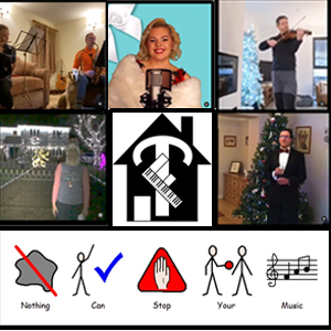 Images of people singing and playing instruments as part of the Christmas Conga challenge.
