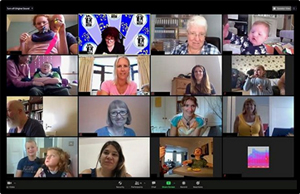 Screengrab of a Zoom call showing lots of Thomas's Fund people taking part in the virtual Family Fun Day
