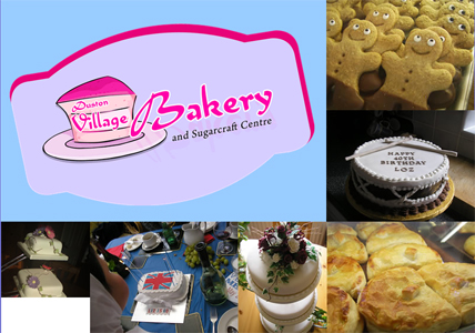 Duston Village Bakery's logo and pictures of their bakes.